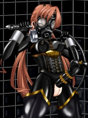 Rubber Sister Sakuya Black Rubber Suit with Gasmask and original fancy penis band