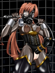 Rubber Sister Sakuya Smoky Transparent Rubber Suit with Gasmask and original fancy penis band